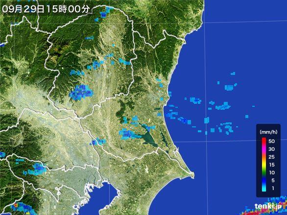 茨城県の雨雲レーダー(2016年09月29日)