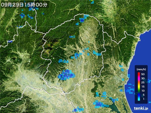 栃木県の雨雲レーダー(2016年09月29日)