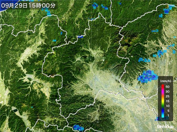 群馬県の雨雲レーダー(2016年09月29日)