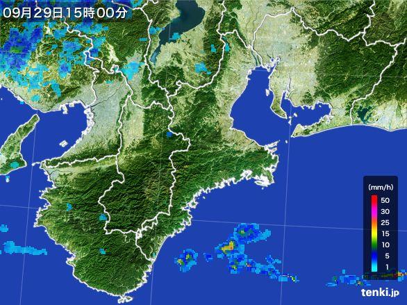 三重県の雨雲レーダー(2016年09月29日)