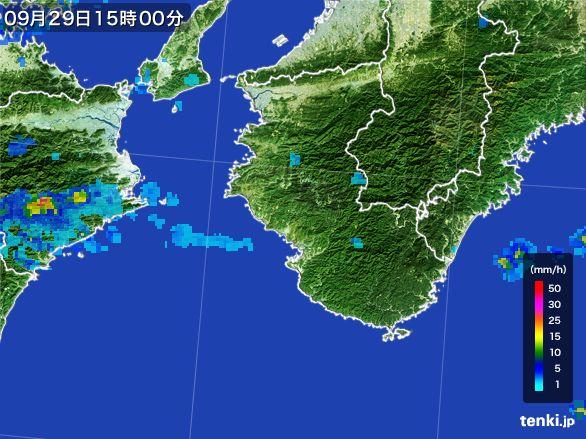和歌山県の雨雲レーダー(2016年09月29日)