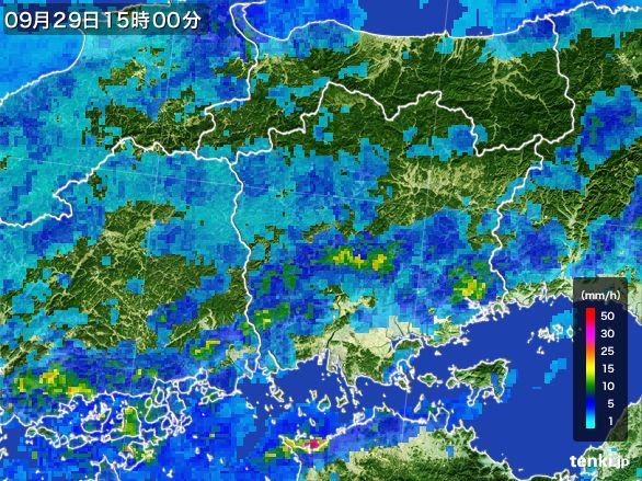 岡山県の雨雲レーダー(2016年09月29日)