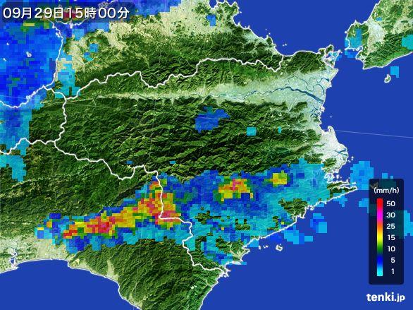 徳島県の雨雲レーダー(2016年09月29日)