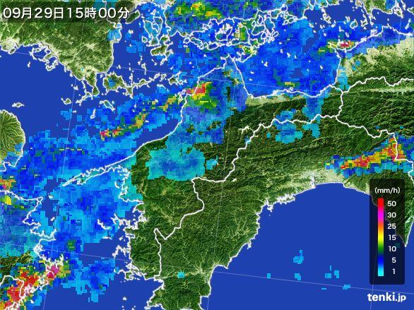 愛媛県の雨雲レーダー(2016年09月29日)