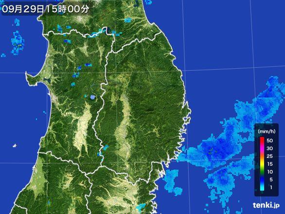 岩手県の雨雲レーダー(2016年09月29日)