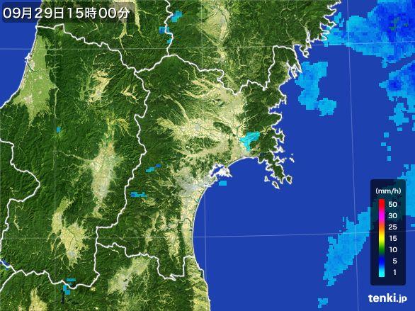 宮城県の雨雲レーダー(2016年09月29日)