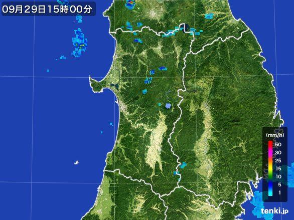 秋田県の雨雲レーダー(2016年09月29日)