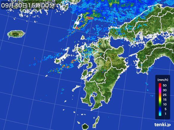 九州地方の雨雲レーダー(2016年09月30日)