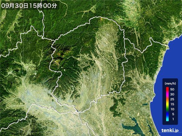 栃木県の雨雲レーダー(2016年09月30日)