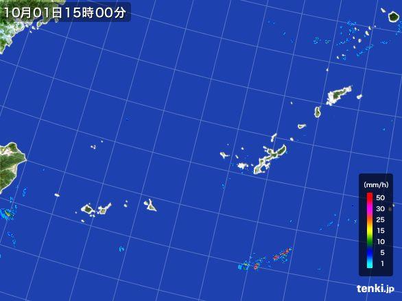 沖縄地方の雨雲レーダー(2016年10月01日)