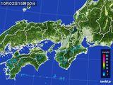 2016年10月02日の近畿地方の雨雲レーダー