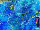 2016年10月03日の奈良県の雨雲レーダー