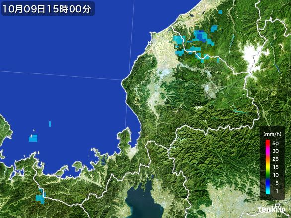 福井県の雨雲レーダー(2016年10月09日)