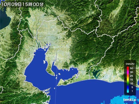 愛知県の雨雲レーダー(2016年10月09日)