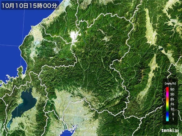 岐阜県の雨雲レーダー(2016年10月10日)