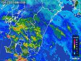 2016年10月22日の宮崎県の雨雲の動き