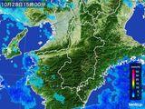2016年10月28日の奈良県の雨雲レーダー