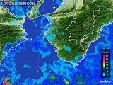 2016年10月28日の和歌山県の雨雲の動き