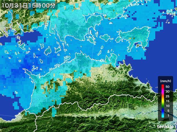 香川県の雨雲レーダー(2016年10月31日)