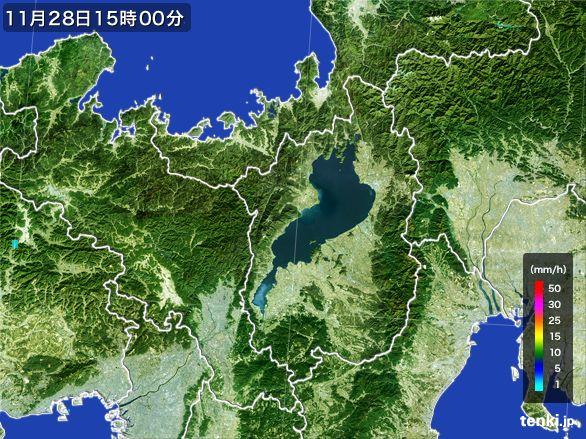 滋賀県の雨雲レーダー(2016年11月28日)