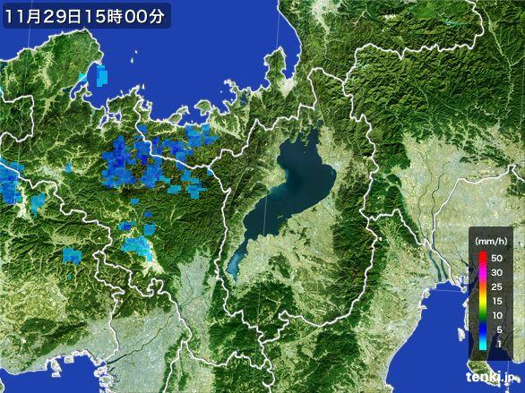 滋賀県の雨雲レーダー(2016年11月29日)