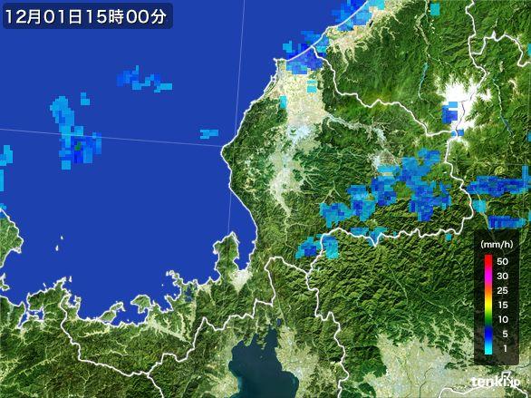 福井県の雨雲レーダー(2016年12月01日)