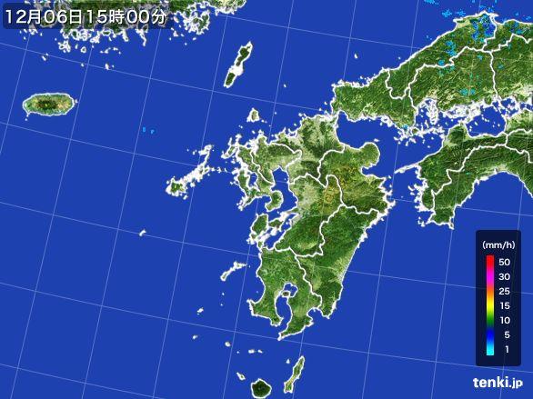 九州地方の雨雲の動き(2016年12月06日)