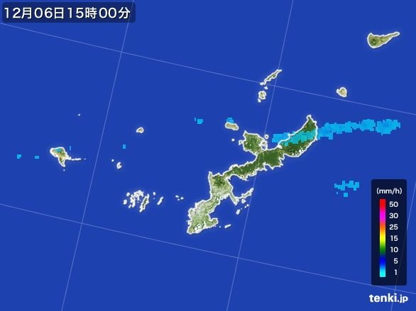 沖縄県の雨雲の動き(2016年12月06日)