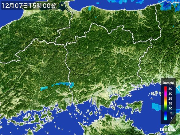 岡山県の雨雲の動き(2016年12月07日)