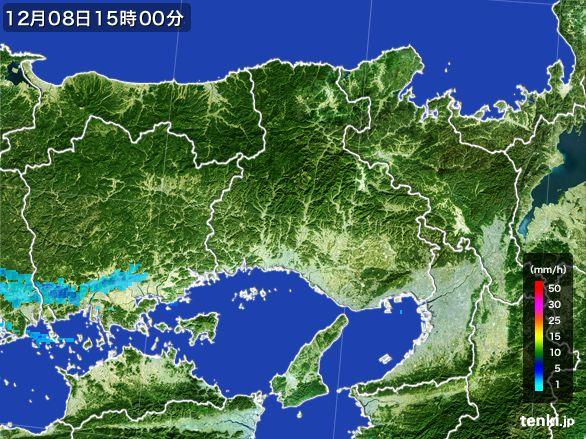 兵庫県の雨雲レーダー(2016年12月08日)