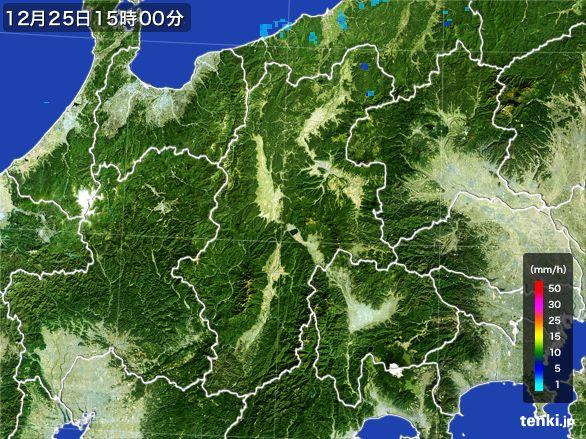 長野県の雨雲レーダー(2016年12月25日)