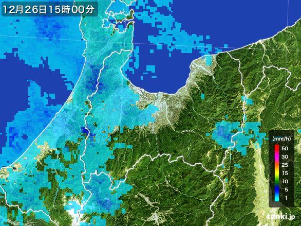 富山県の雨雲レーダー(2016年12月26日)