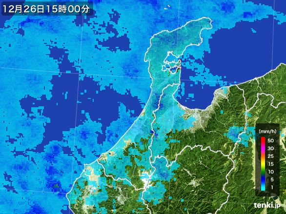 石川県の雨雲レーダー(2016年12月26日)