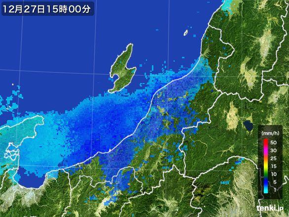 新潟県の雨雲レーダー(2016年12月27日)