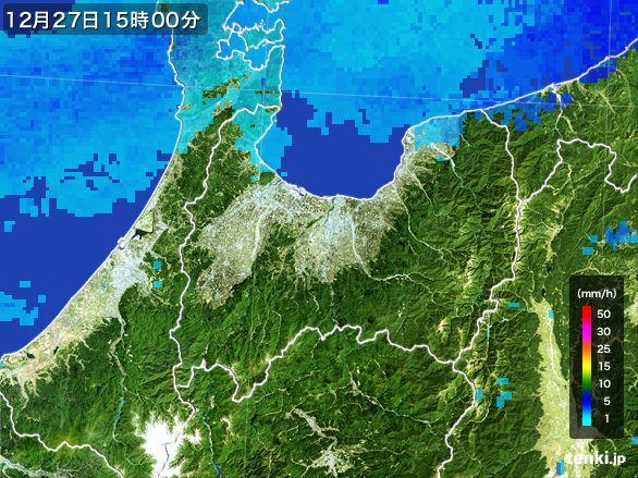 富山県の雨雲レーダー(2016年12月27日)