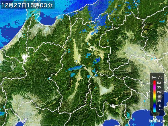 長野県の雨雲レーダー(2016年12月27日)