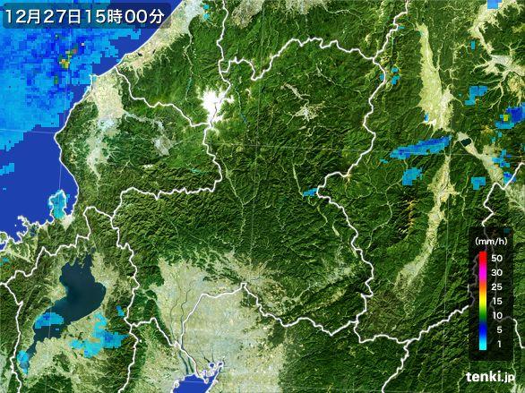 岐阜県の雨雲レーダー(2016年12月27日)