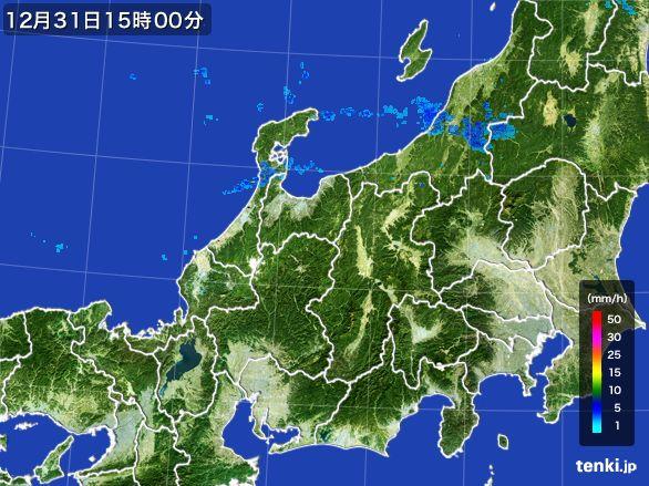 北陸地方の雨雲レーダー(2016年12月31日)