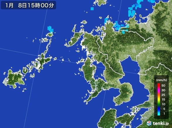 長崎県の雨雲レーダー(2017年01月08日)