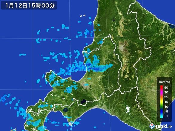道央の雨雲の動き(2017年01月12日)