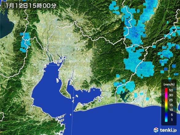 愛知県の雨雲の動き(2017年01月12日)