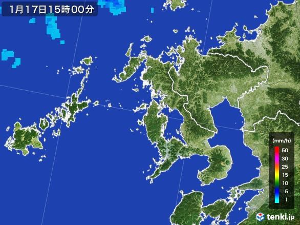 長崎県の雨雲レーダー(2017年01月17日)