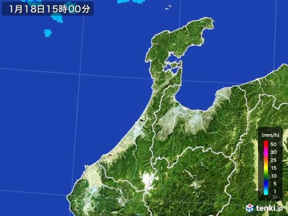 石川県の雨雲レーダー(2017年01月18日)