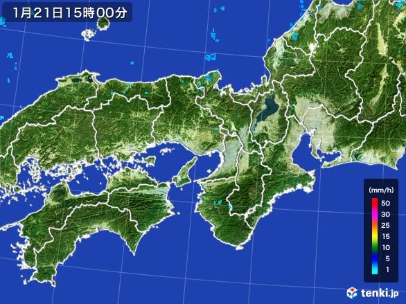 近畿地方の雨雲レーダー(2017年01月21日)