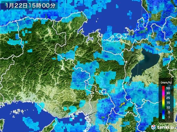 京都府の雨雲レーダー(2017年01月22日)