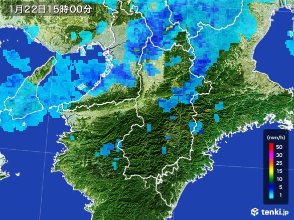 奈良県の雨雲レーダー(2017年01月22日)