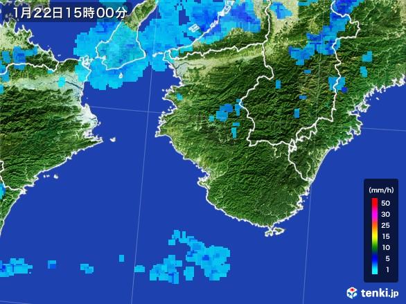 和歌山県の雨雲レーダー(2017年01月22日)