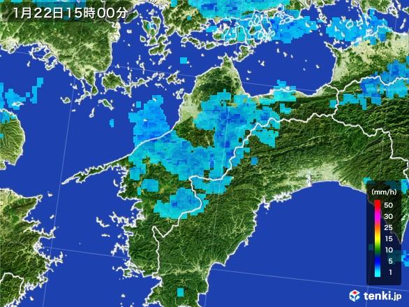 愛媛県の雨雲レーダー(2017年01月22日)