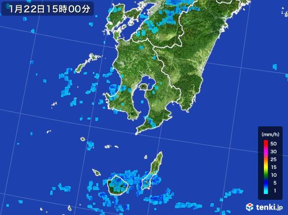 鹿児島県の雨雲レーダー(2017年01月22日)