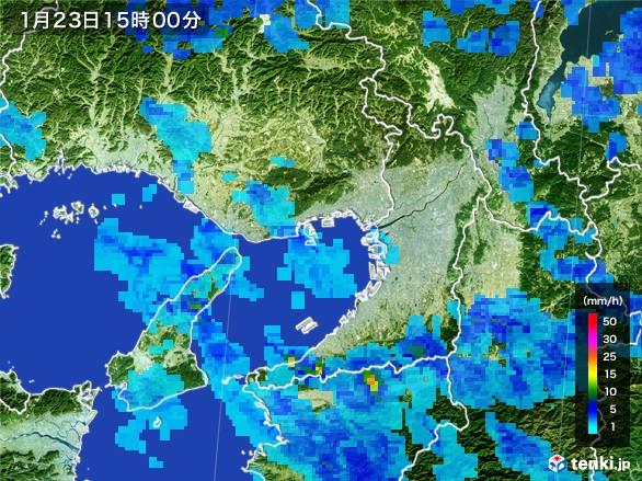 大阪府の雨雲レーダー(2017年01月23日)